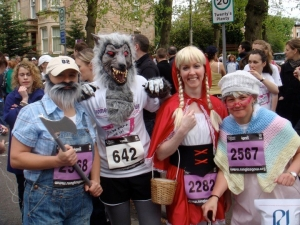 Me in the wolf outfit at the Women's 10k in May 2010