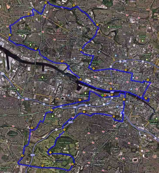 Glasgow Marathon Route 2013