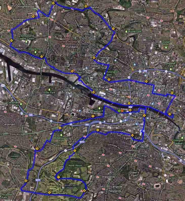 Glasgow Marathon Route 2013