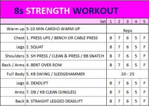 8s Strength Workout Grid