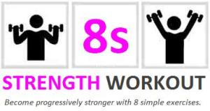 8s strength workout logo and strapline